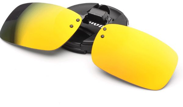 ca9e0121d59 Yellow Unisex Polarized Clip On Sunglasses Driving Night Vision Lens Anti-UVA  Anti-UVB Cycling Riding Sunglasses Clip For Near-Sighted