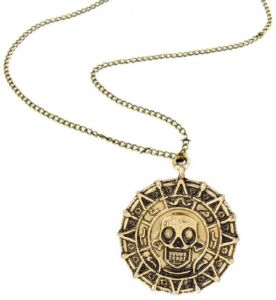 ad03097351 Pirates of the Caribbean Vintage Gold Aztec Coin Pendant Bronze Chain  Necklace