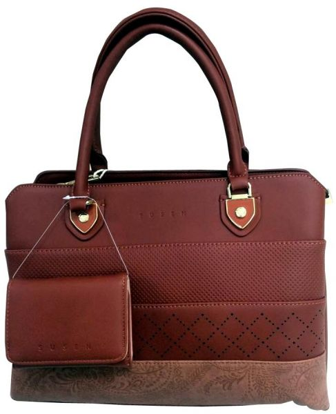 Susen Brown Leather Bag With Free Wallet