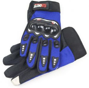 Sports Cycling Gloves Full Finger Bike Gloves Gel Padded Touch Screen and Shockproof Road Mountain Bicycle Gloves For Men&Women-Blue