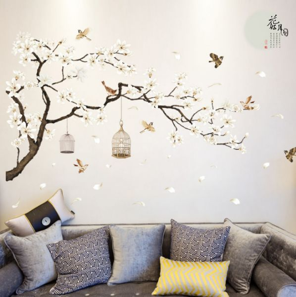 chinese painting flower moon wall stickers office study room