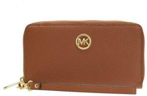 5f6790a5b890 Michael Kors Fulton Large Flat Multifunction Leather Phone Case Luggage  Brown
