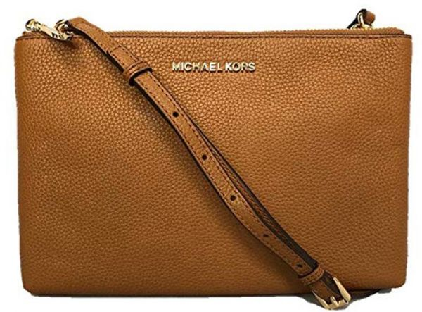 2e605db3f4db Michael Kors Jet Set Travel Double Zip Gusset Signature Crossbody Bag