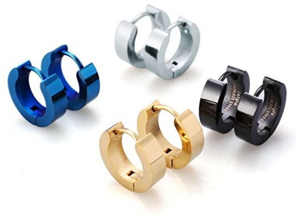 Jstyle Stainless Steel Unique Small Hoop Earrings For Men Huggie