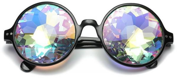 d36a7e521a0a Kaleidoscope Glasses Round Rave Festival Diffraction Sunglasses. by Other
