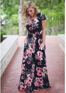 7a7527f6f76 Y D Women s O Neck Elegent Flower Pattern A Line Maxi Long Dress Black