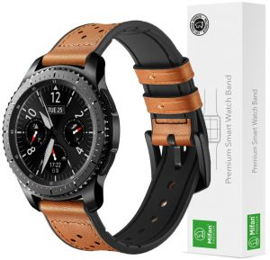 d9ca347960c Samsung Gear S3 Watch Band 22mm Mifan Strap Replacement Premium Hybrid Dot  Design Soft Silicone Leather Sports Wristband Bracelet Brown with Black  Clasp ...