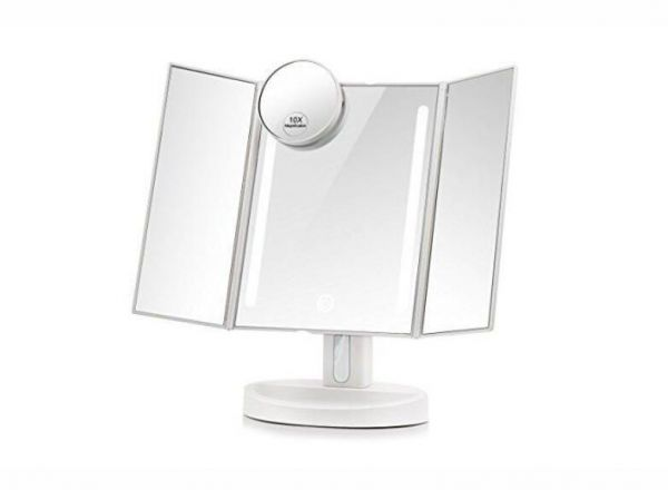 Three Folding Touch Screen Makeup Mirror Professional Vanity Led