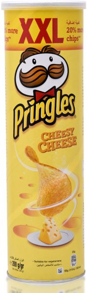 Pringles Cheesy Cheese Flavored Potato Chips Can - 200 gm