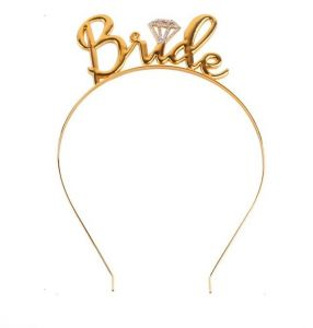 Bride Headband - Metal Tiara Bride to Be Crown Bridal Wedding Party Decor  Bachelorette Party Women Hair Accessories ( Gold ) cc18444e982