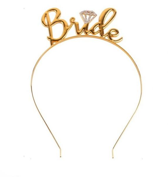 Bride Headband - Metal Tiara Bride to Be Crown Bridal Wedding Party Decor  Bachelorette Party Women Hair Accessories ( Gold )  cbced0c9369