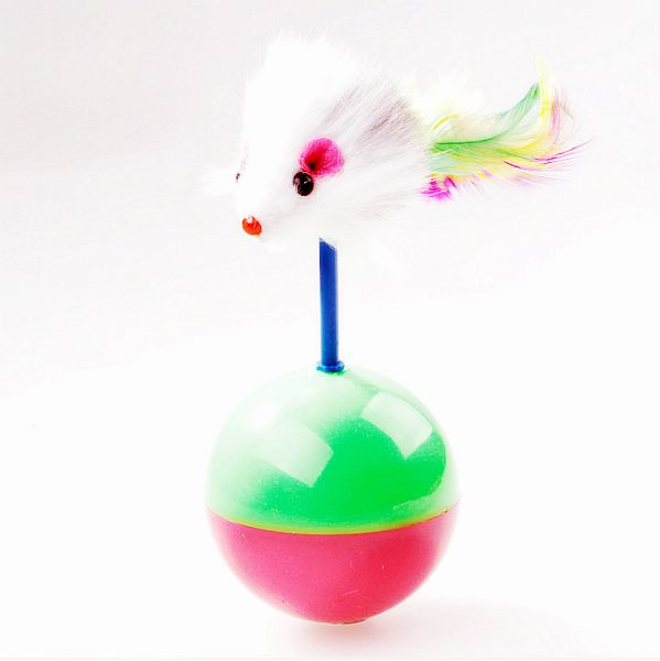 Cat Toys Ball with Catnip Feather Mouse Tumbler Ball Rustle Activity Creative Toy