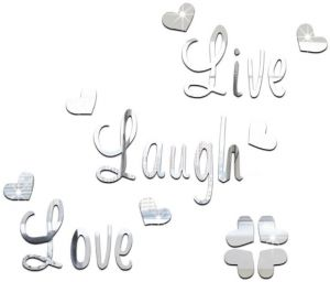 Live Love Laugh Quote Wall Sticker Quotes Acrylic Reflective Sticker Wall Decals Wallpaper Poster Mirror Wall Stickers Decor Xsq