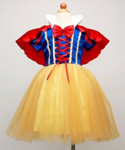 012339581d Girls Snow White Costume Cosplay Kids Girl Princess Party Dresses with Cape  Short Sleeve Dress with Bow Children Cartoon Clothes