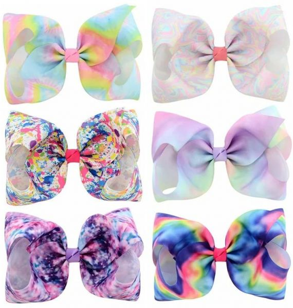 6 Pcs 8 Inch Large Colorful Bow Hairpin Girls Bows With Clip Hair