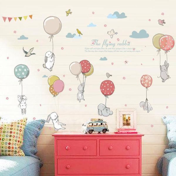 Rabbit Balloon Wall Sticker Kids Room Decoration Kindergarten Classroom Art  Background Autocollant Mural Home Decor Wall Stickers | Souq   UAE