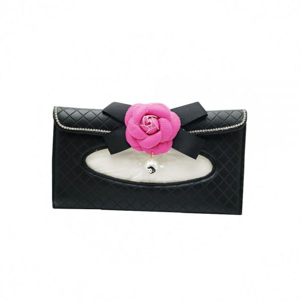 Car Tissue Holder PU Leather Clip Car Tissue Box Holder Flower Design For Facial Tissue and Other Napkin Papers Black/Pink