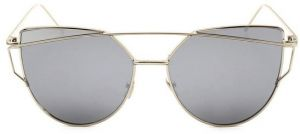Korean Fashion ultra light Cat Eye Grey Lens Gold Frame Sunglasses