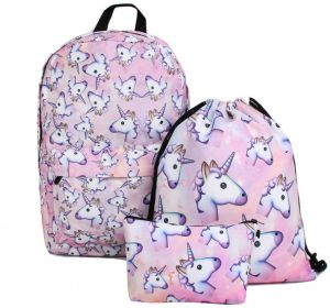 02940d287744 3PCS  set Women Printed Unicorn Backpack School Bags For Teenage Girls  Shoulder Drawstring Bags Travel Students Polyester Cute Women Girl School  Shoulder ...