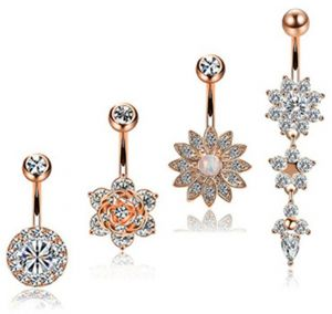 f00d7712a 4pcs/set Stainless Steel Flower Crystal Navel Bars Gold Belly Button Ring  Navel Piercing Jewelry Body Jewelry Piercing Barbell