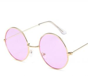 a8cd626382 Vintage Round Sunglasses Women Ocean Color Lens Mirror Sunglasses Female  Metal Frame Circle Glasses Oculos UV400 Light Purple