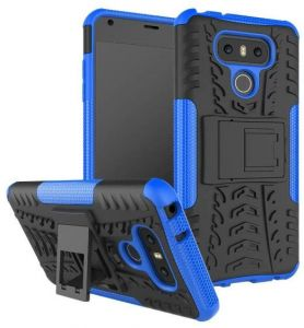 LG G6 -Heavy Duty blue Armor series two-in one bracket Hybrid high pro shield ShockProof stand Hard Back Case Cover-c124