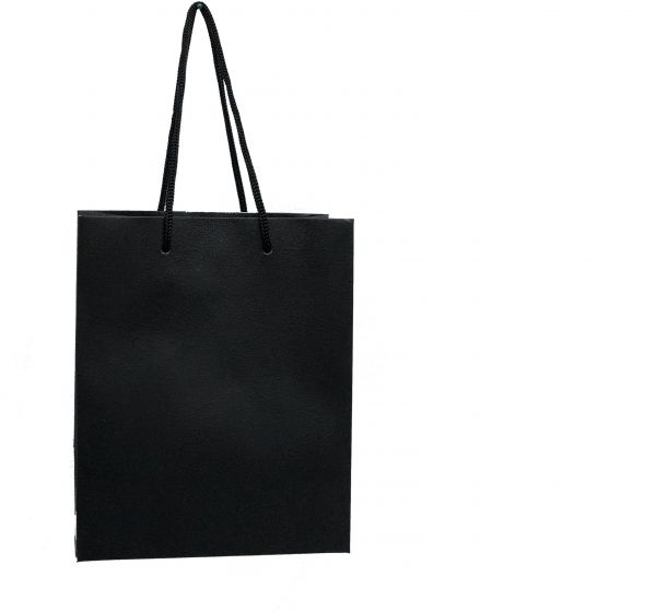 Plain Medium Black Paper Bags with Handles for Gifts  Set of 12 pcs ... 0116644105