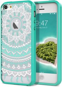 149cf17fbeb989 SmartLegend iPhone 5 5S SE Retro Totem Mandala Floral PC Hard Back Cover  with TPU Bumper Acrylic Protective Transparent Case - Mint