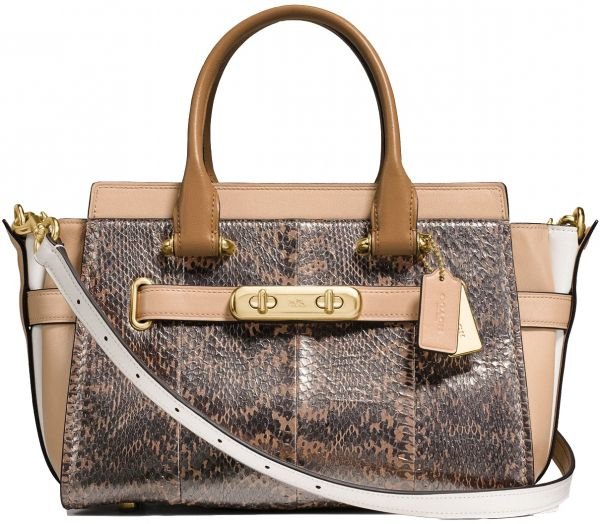 3abe1f3fe244e Coach Swagger 27 In Pearlized Snakeskin - Multi Color