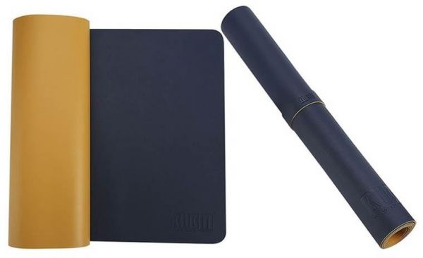 Bubm Large Desk Mat Protector 120 Cm X 60 Leather Smooth Blotter Extended Non Slip Laptop Keyboard Mouse Pad In Navy Blue