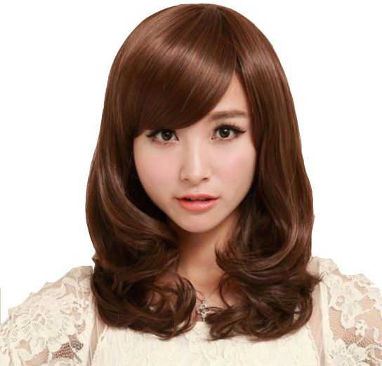 Women s Synthetic Hair Wig Personality Curly Brown Middle Long Hair Wigs  Accessories  3eccae6e90