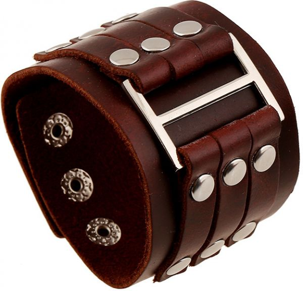 Fashion Rivets Men Wide Leather Bracelet Cuff Bracelets Bangles Wristband Vintage Jewelry 3 Row On Clasps