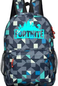 4088d96352ee game Fortnite backpack Luminous fluorescence men backpack Blue and black  mixed lattice backpack