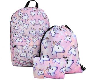 3PCS  set Women Printed Unicorn Backpack School Bags For Teenage Girls  Shoulder Drawstring Bags 674494a515dbc