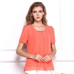 dafddab8b36 Y D round neck chiffon material top short sleeve hollow out blouse for women  orange color