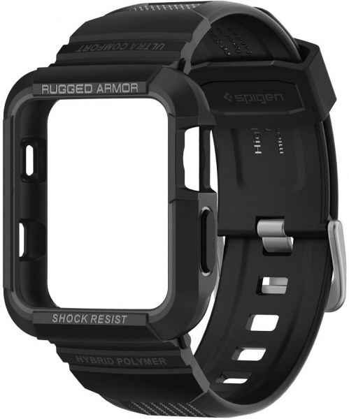 Spigen Apple Watch 38mm Series 3 / Series 2 / 1 Rugged Armor PRO cover / case with Band - Black | Souq - UAE