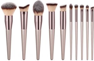 GUJHUI Professional 10Pcs Makeup Brush Set Powder Foundation Brush Eyebrow  Eyeshadow Cosmetic Make Up Tools Toiletry Kit for Women Girl 9b742f63e9087