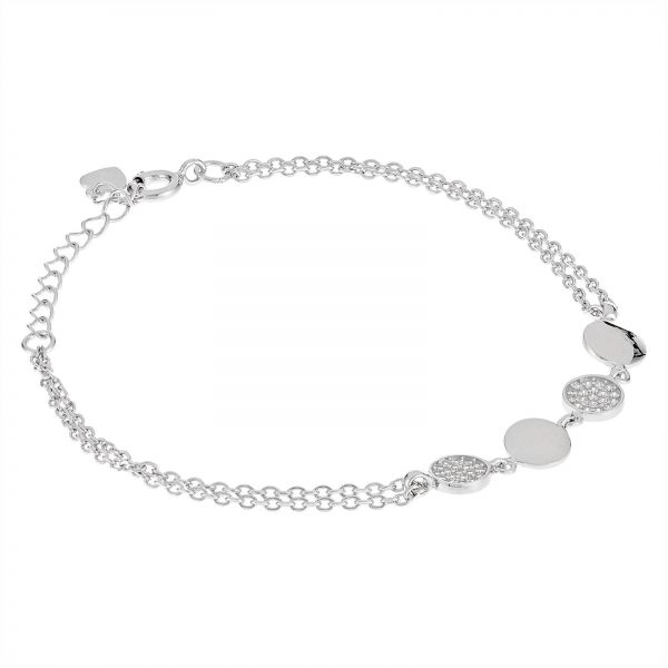 AK Jewels 925 Silver Round Shape With Double Bracelet For Women