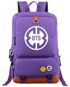 Korean BTS series fashion style canvas backpack great for high school college backpack fits UNDER 17 inch Laptop & Notebook for Women and Men, purple-b039