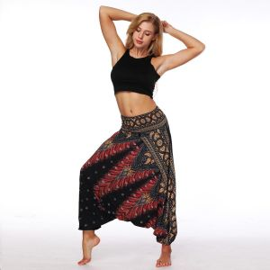 bb0017a39d Womens  Indonesian National Style Digital Print Belly Dance Loose Wide Leg  Harem Pants Yoga Pants(One size)