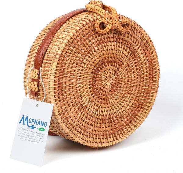 Rattan Bag For Women Round Handwoven Crossbody Shoulder Purse Handworked Straw Bags With Leather Straps