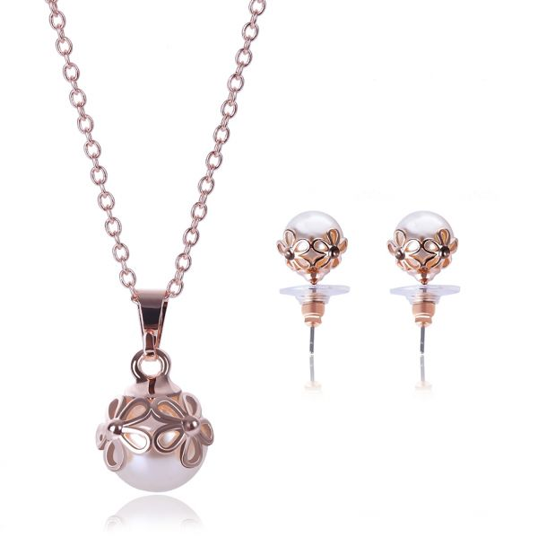 18 k Jewelry Set Plated Faux Pearl Pendant Necklace Dangle Earring Stud Set Gifts for Women