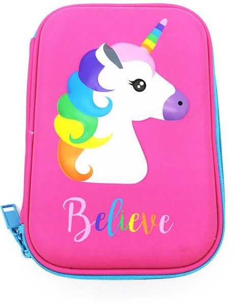 Kids Pencil Case, Unicorn Pattern EVA Pen Pouch Stationery Box Big Capacity Anti-Shock for School Students Girls Teens Kids, Pink
