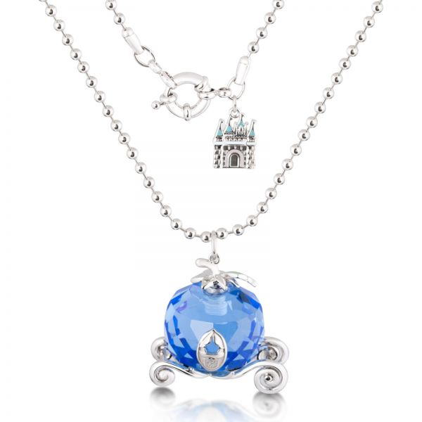Disney Couture Women s Rhodium Plated Cinderella Pumpkin Carriage Pendant  Necklace  3a6712064