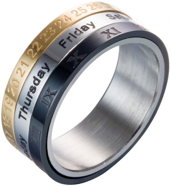Fashion Explosion Titanium Steel Rotating Ring Tricolor Calendar Ring Time Turn Ring Time Ring-xsq
