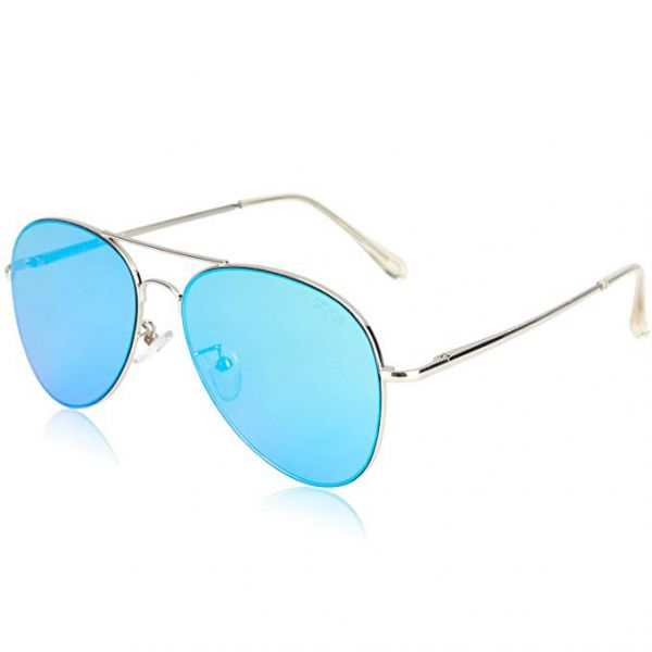 0c13134a885 SOJOS Classic Aviator Mirrored Flat Lens Sunglasses Metal Frame with Spring  Hinges - Blue Lens