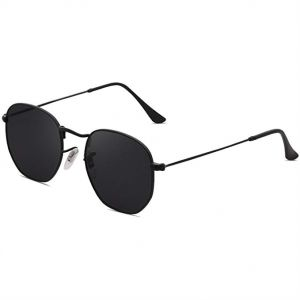 0934395555b SOJOS Small Square Polarized Sunglasses for Men and Women Polygon Mirrored  Lens - Black Lens