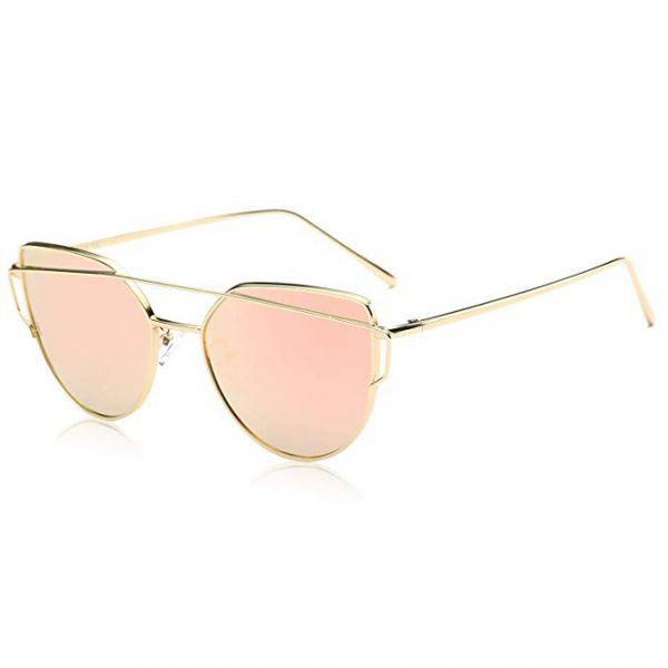 e5edbec0a SOJOS Cat Eye Mirrored Flat Lenses Street Fashion Metal Frame Women  Sunglasses - Pink Lens, SJ1001