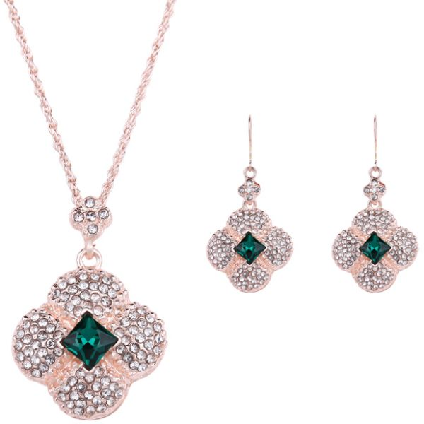 18 k Diamond Flower Pendant Necklace Earrings Ring Bracelet Upscale Bridal Jewelry Set