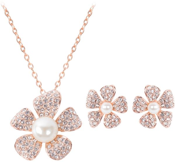 18 k Rose Gold Plated Elegant Pearl Pendant Necklace Earrings Set Jewelry Set for Women